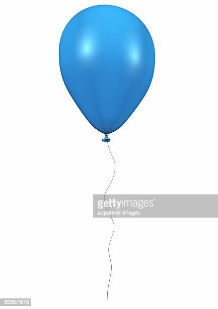 blue balloon with cord on white background