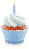 Blue birthday cupcake