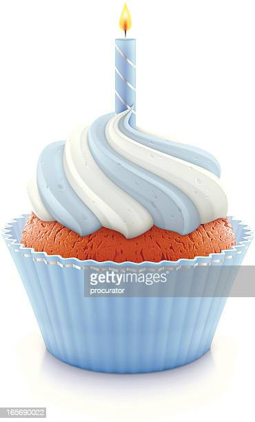 blue birthday cupcake - candle stock illustrations, clip art, cartoons, & icons