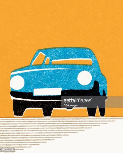 blue car - road stock illustrations
