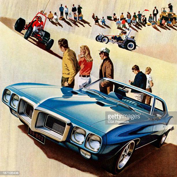 blue car on sand dunes - go carting stock illustrations, clip art, cartoons, & icons