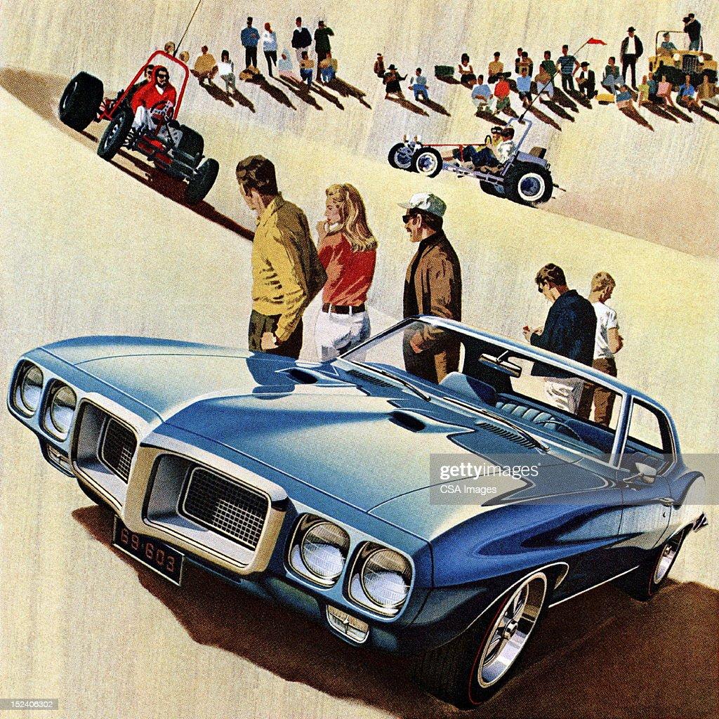 Blue Car on the Sand Dunes : stock illustration