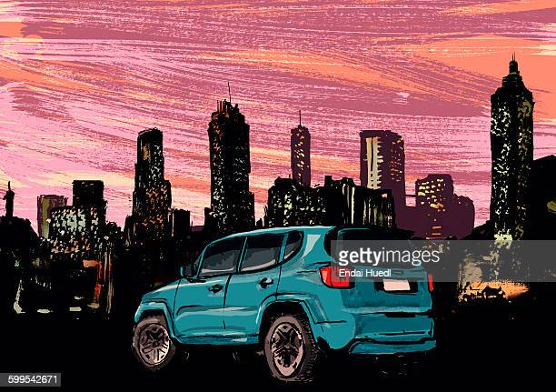 blue car parked in front of illuminated cityscape at night - tall high stock illustrations