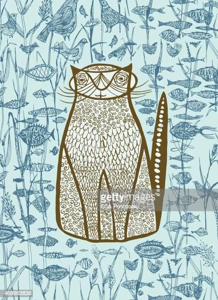 blue cat; fish; birds - cat food stock illustrations