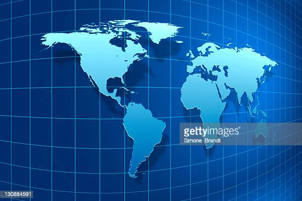 blue, distorted map of the world, 3-d illustration - contortionist stock illustrations