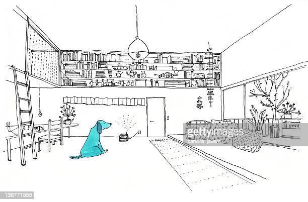 ilustrações de stock, clip art, desenhos animados e ícones de blue dog - planta de vaso