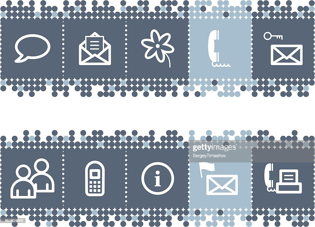 Blue dots bar with communication icons
