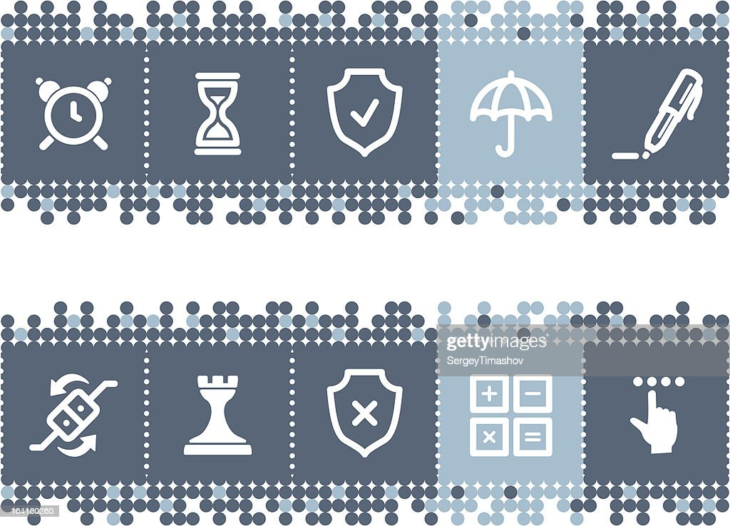 Blue dots bar with software icons