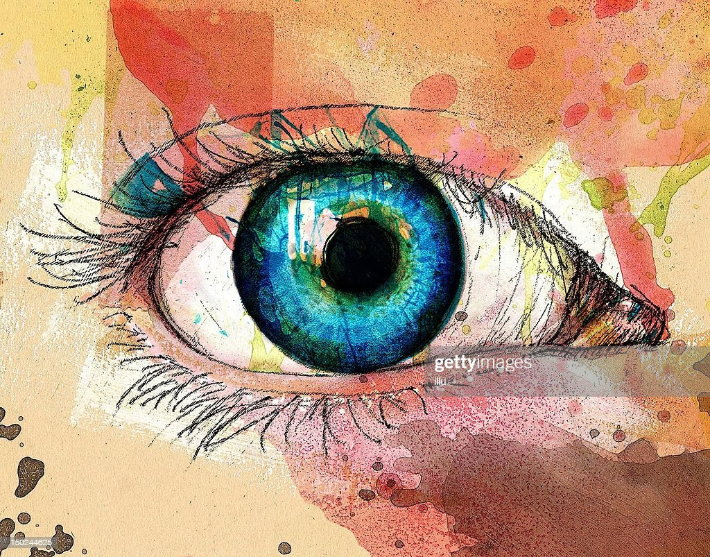 Blue eye, acrylic, Pencil, Digital-PixelIllustration.