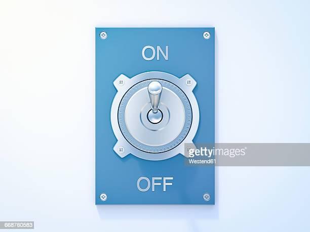 Blue flip switch, on, off, 3D Rendering