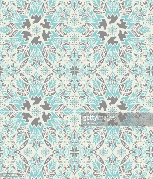 blue flower pattern - floral pattern stock illustrations
