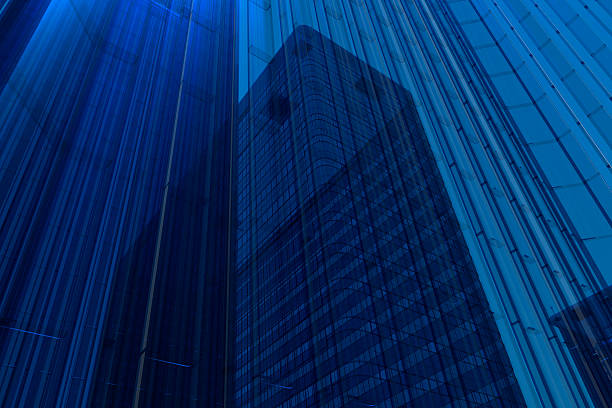 Blue Glass Building Wall Art