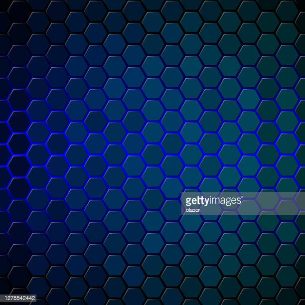 blue glow behind hexagon tiles covering surface. honeycomb pattern with individually lit shapes. gradient. - back lit stock illustrations