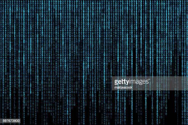 illustrazioni stock, clip art, cartoni animati e icone di tendenza di blue glowing matrix background - codice binario