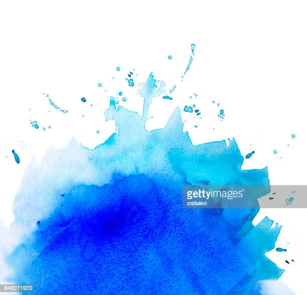 Blue graded watercolor background isolated