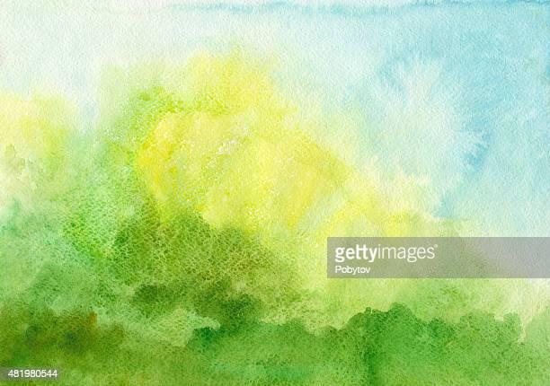 ilustrações, clipart, desenhos animados e ícones de fundo aquarela azul verde - artistic product