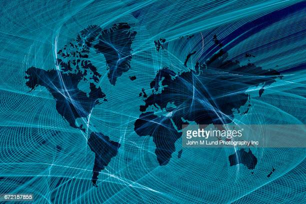 illustrazioni stock, clip art, cartoni animati e icone di tendenza di blue lines flowing over global map - finanza internazionale