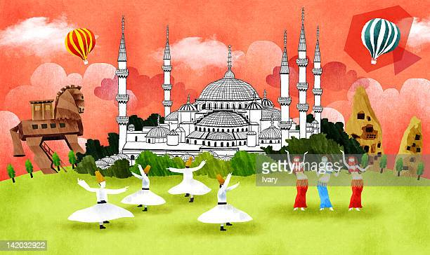 blue mosque in istanbul, turkey - spire stock illustrations, clip art, cartoons, & icons