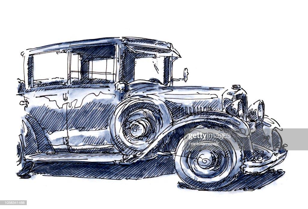 Oldtimer Classic Car Seitenansicht blau Tinte Zeichnung und Aquarell : Stock-Illustration