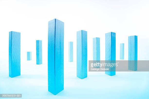 blue rectangle posts arranged symmetrical pattern - medium group of objects stock illustrations, clip art, cartoons, & icons