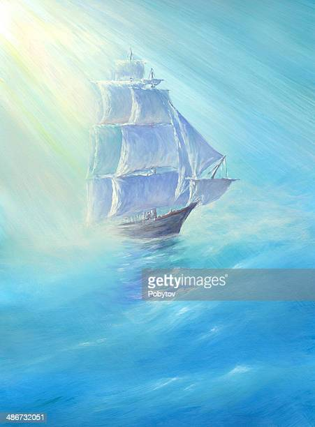 blue sea - brigantine stock illustrations, clip art, cartoons, & icons