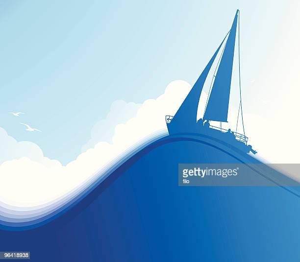 blue meer - horizont stock-grafiken, -clipart, -cartoons und -symbole