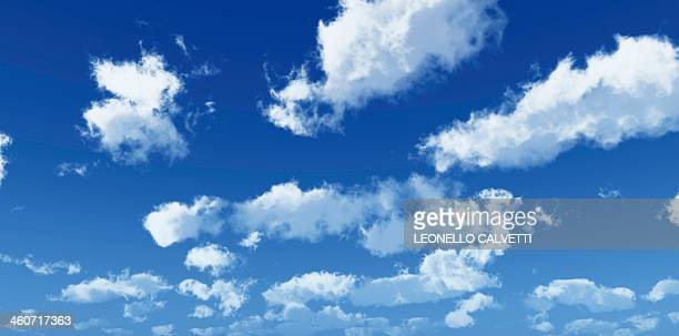 blue sky with clouds, artwork - cloud sky stock illustrations
