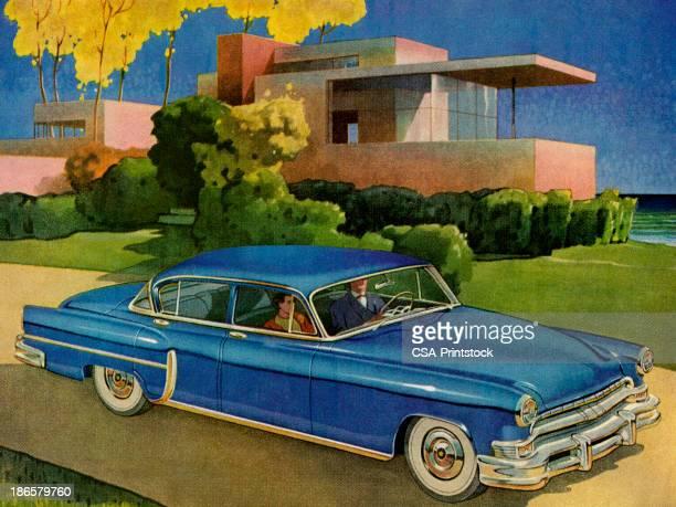 illustrations, cliparts, dessins animés et icônes de bleu vintage voiture en face de la maison - devant
