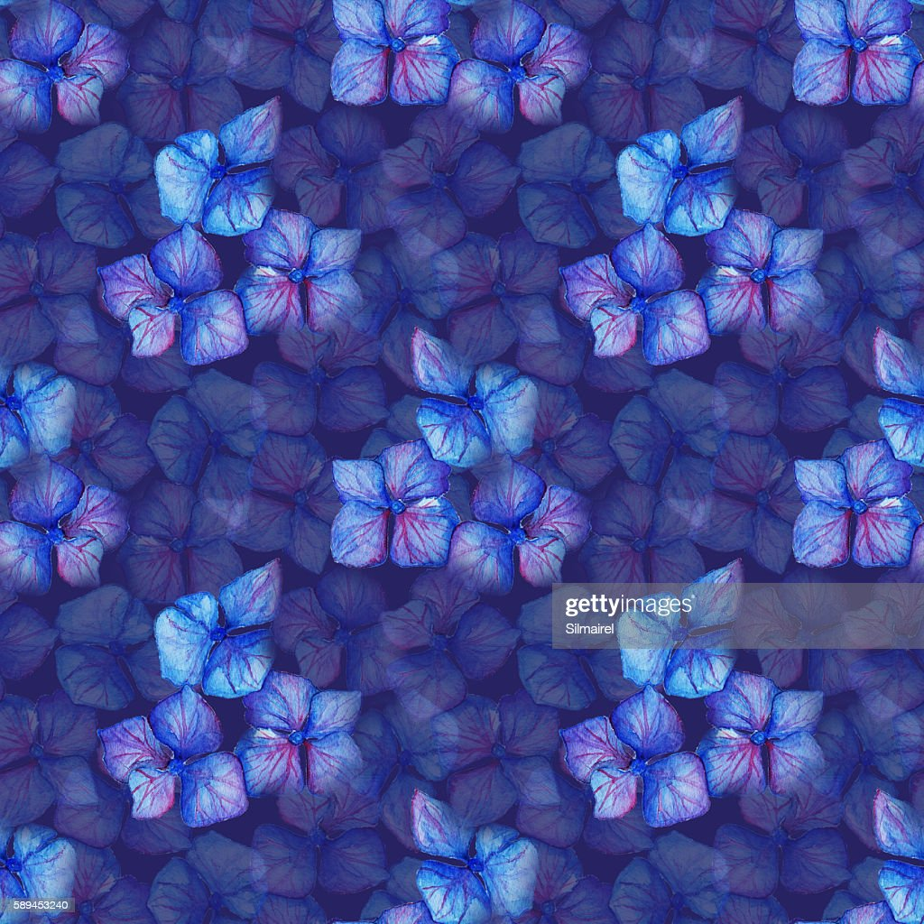 Blue Violet Hydrangea Flowers Composition Seamless Pattern
