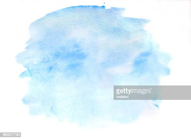 blue watercolor cloud on white - stellalevi stock illustrations