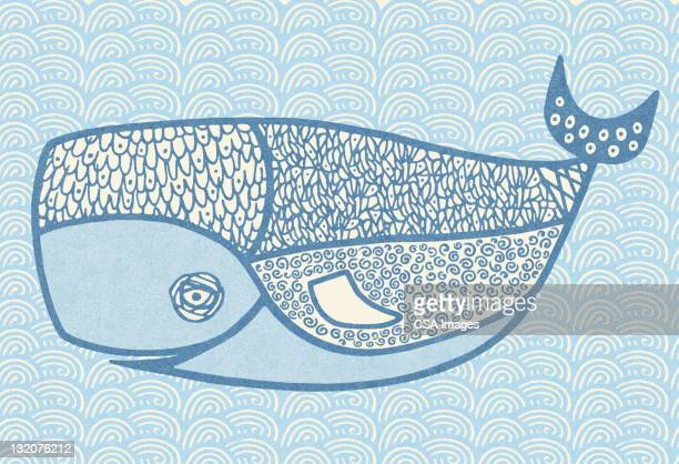 blue whale - tail fin stock illustrations, clip art, cartoons, & icons