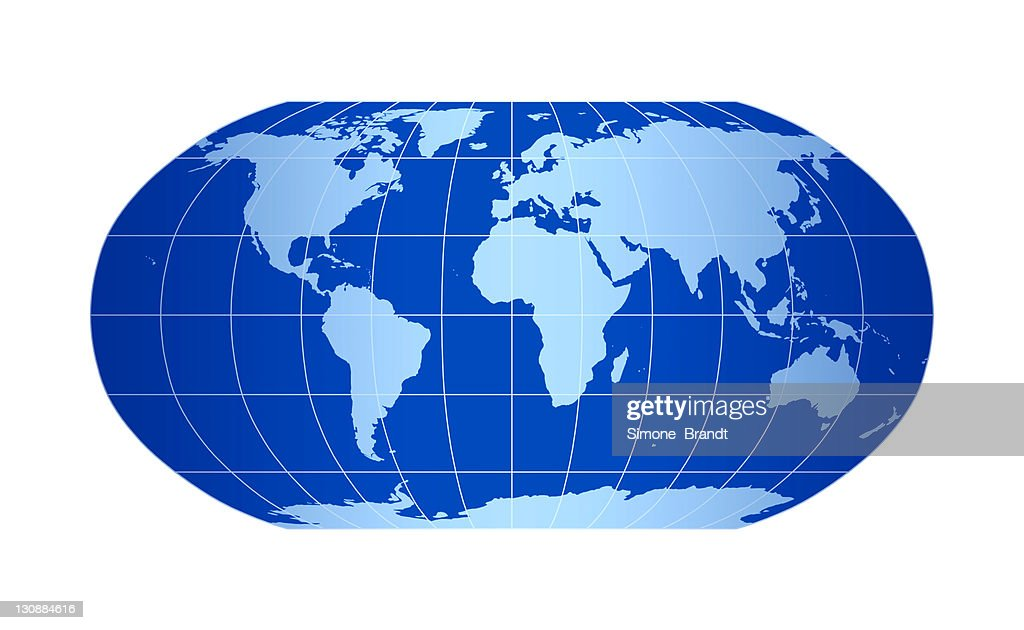 blue world map robinson projection with grid lines on white backdrop 3d illustration