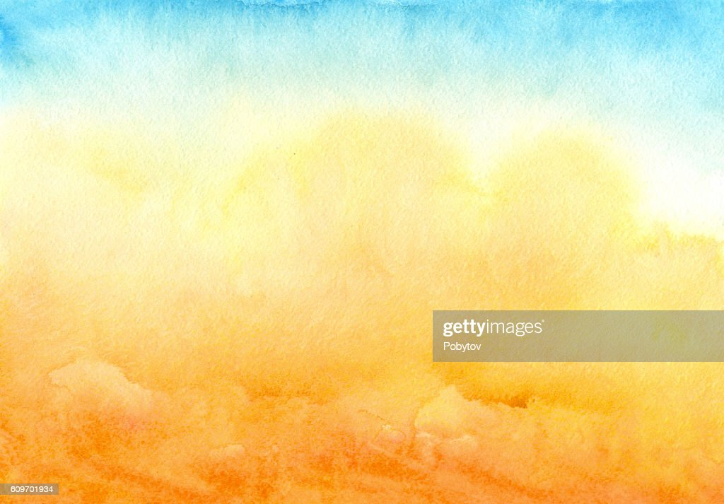 blue yellow watercolor background : Stock Illustration