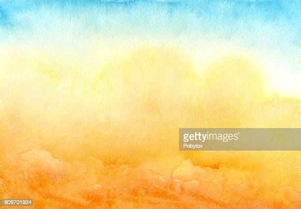 blue yellow watercolor background - heat stock illustrations
