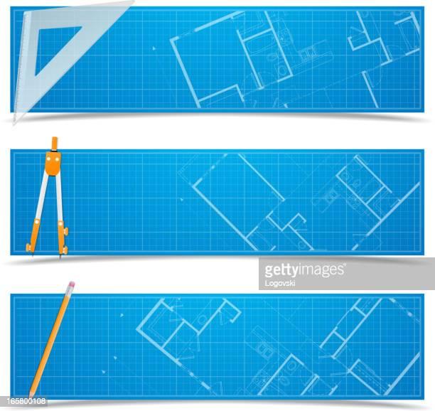 blueprint banners - architect stock illustrations