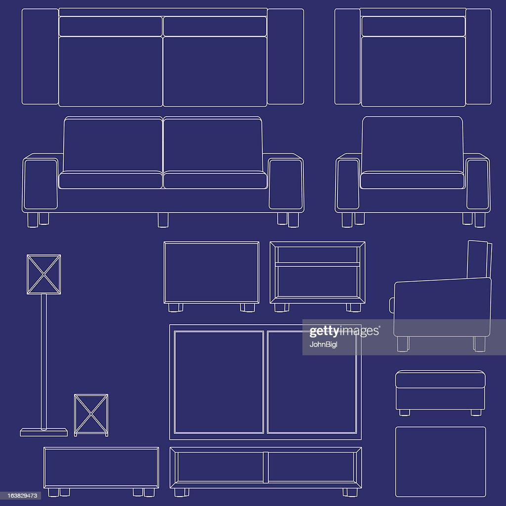 Blueprint living room furniture vector art getty images blueprint living room furniture vector art malvernweather Images