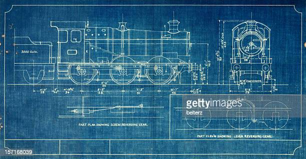 A blueprint of a vintage train, outlined in white