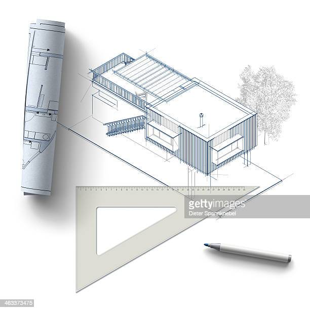 Blueprints of a modern house and triangle ruler