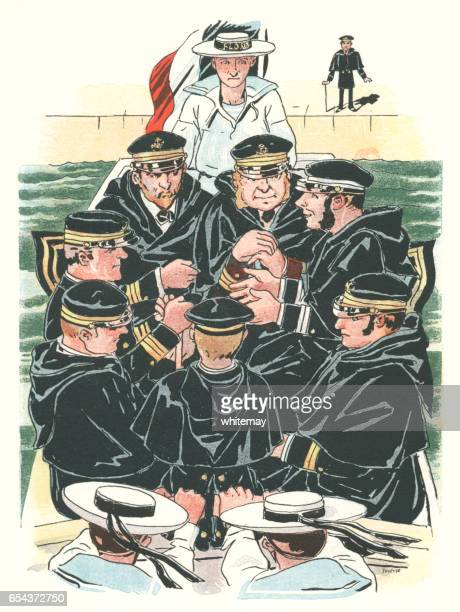 Boat full of French naval officers conversing