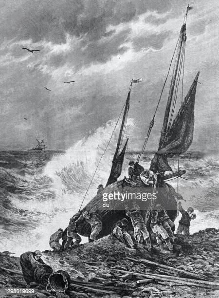 boat in normandy leaves to rescue castaways - normandy stock illustrations