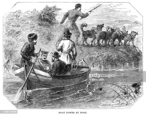 Boat towed by dogs engraving 1868