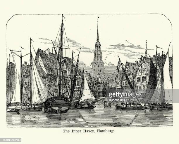boats in the inner haven, hamburg, germany, 19th century - history stock illustrations, clip art, cartoons, & icons