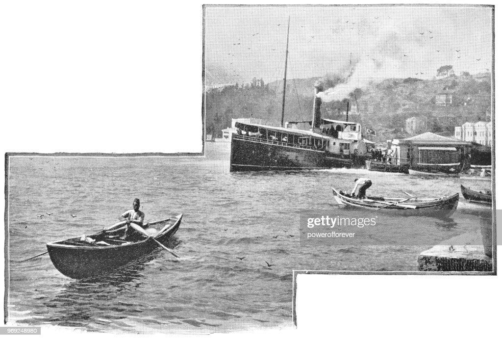 Boats Leaving Port on the Sea of Marmara in Istanbul, Turkey - 19th Century : stock illustration