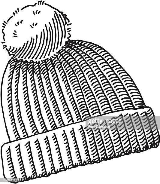 illustrations, cliparts, dessins animés et icônes de bonnet à pompon dessin - bonnet de laine