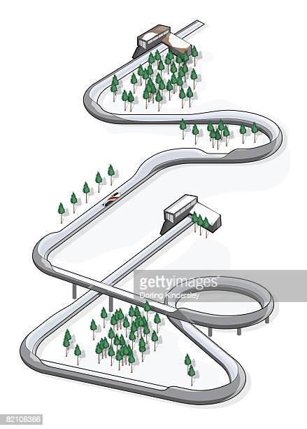 bobsledding course - bobsledding stock illustrations