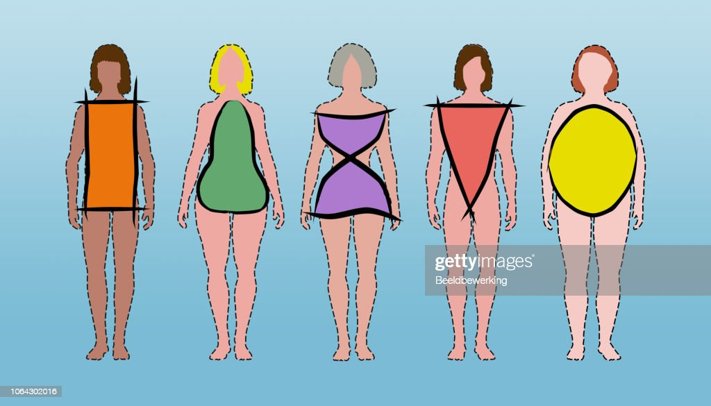 Body Types Rectangle Pear Hourglass Triangle And Apple Shaped Black