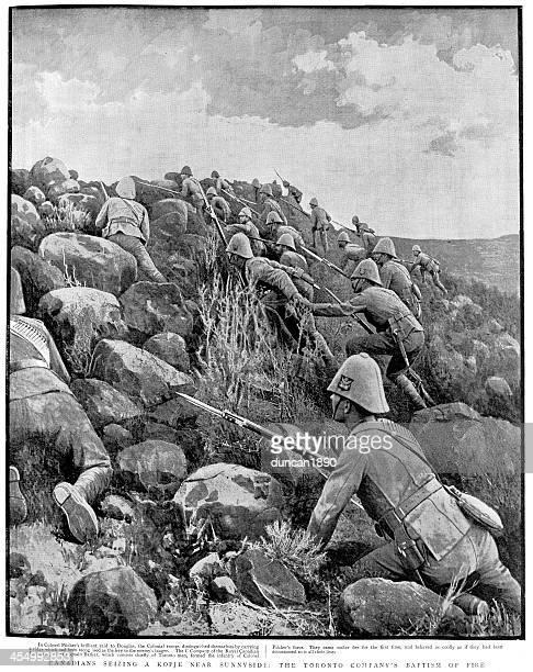 boer war - canadian troops - bayonet stock illustrations