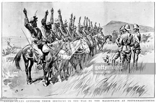 boer war - loyal zulus - pietermaritzburg stock illustrations