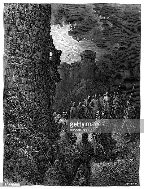 illustrazioni stock, clip art, cartoni animati e icone di tendenza di bohemond solo supporti le mura costellate di bastioni di antioch - attaccante