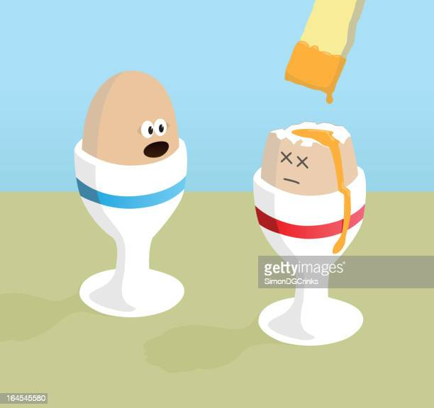 boiled egg cartoon - dipping stock illustrations, clip art, cartoons, & icons
